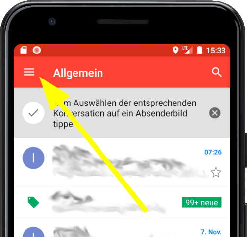 Google Mail-Hauptmenü