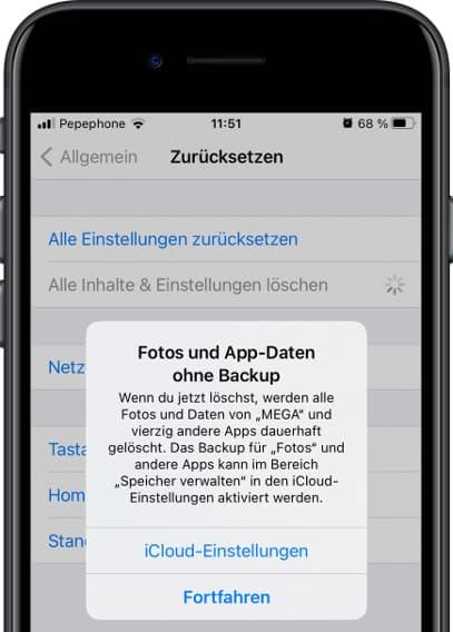 Bestätigungsmeldung zurücksetzen iOS