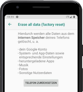 Telefon zurücksetzen Android
