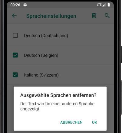 Bestätigen Sie das Entfernen von Sprachen Android